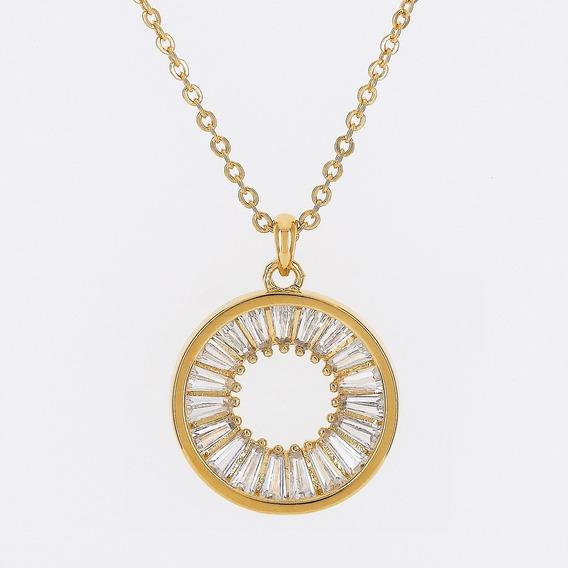 Colar Dourado Círculo De Zircônias Banho Em Ouro - Morana