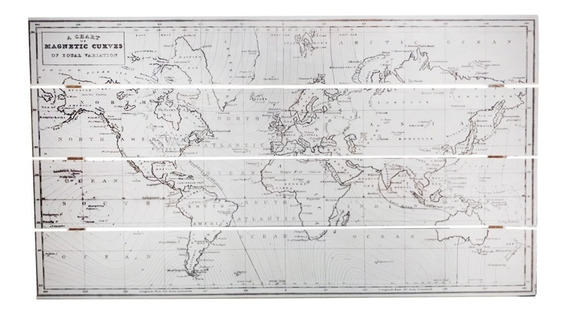 Cuadro De Madera Wall Art Diseño De Mapa Aspecto Antiguo