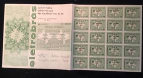 Apólice Obrigações Da Eletrobrás Série Ee C/ 20 Cupons 1973