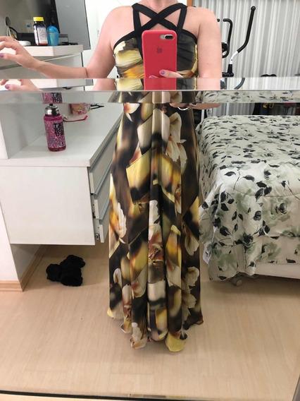 Vestido 100 % Seda Pura Estampado M/ 38