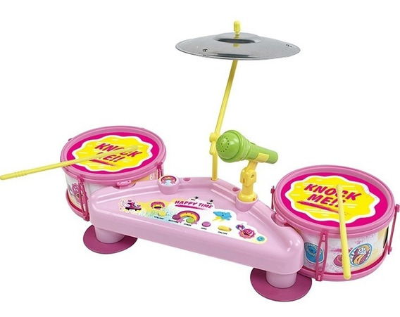 Bateria Musical Infantil Com Microfone Rocky Girl Eletronica