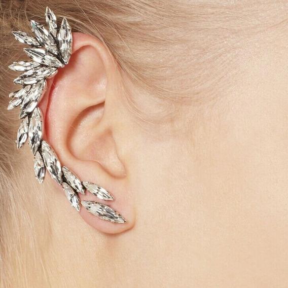 Ear Cuff Cristal, Brinco Encaixe, Bracelete Orelha, Pressão