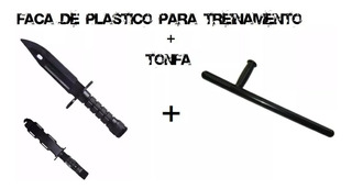 Faca Plástica Simulacro + Tonfa / Tático / Krav Maga Treino