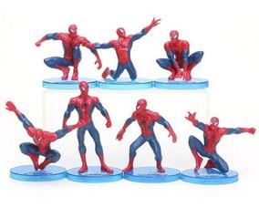 Kit 7 Bonecos Homem Aranha Spider Man Base Removível