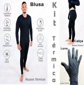 Kit Roupas Térmicas 1 Luva 1 Blusa 1 Calça Segunda Pele Uv