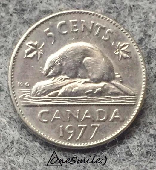 Onesmile:) Moneda De Canadá 5 Centavos 1977