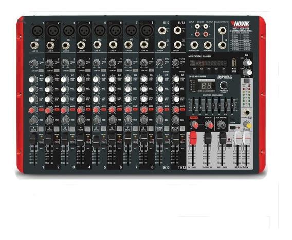 Mesa De Som Novik Nvk-1200p Amplificada 12 Canais E Usb Mp3