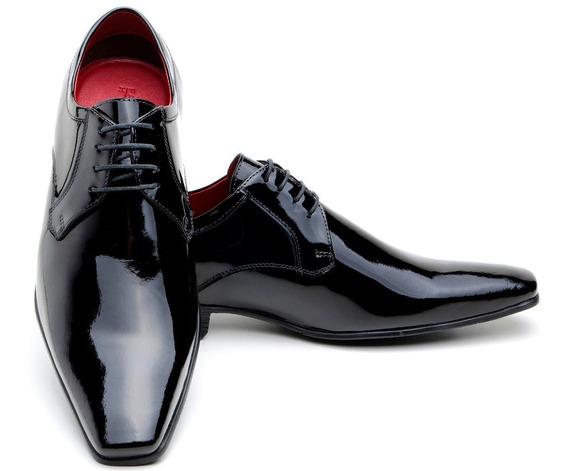 Sapato Preto Couro Verniz Cadarço Masculino Social Italiano