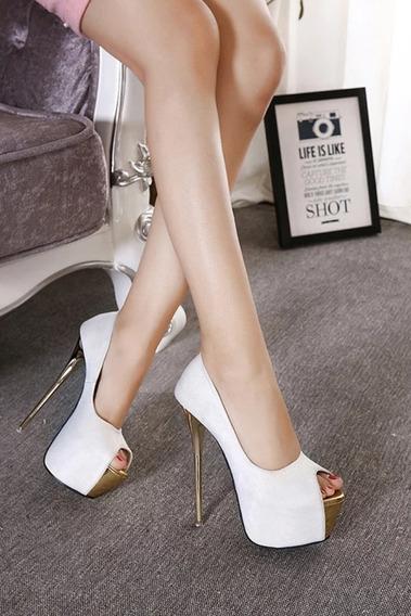 Sapato Feminino Peep Toe Salto 16 Cm - Frete Grátis