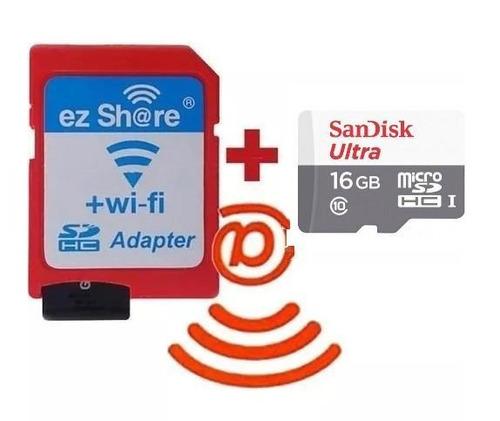 Kit Micro Sd 16gb  Wi-fi Ez-share Sim Toshiba Flashair 80mb