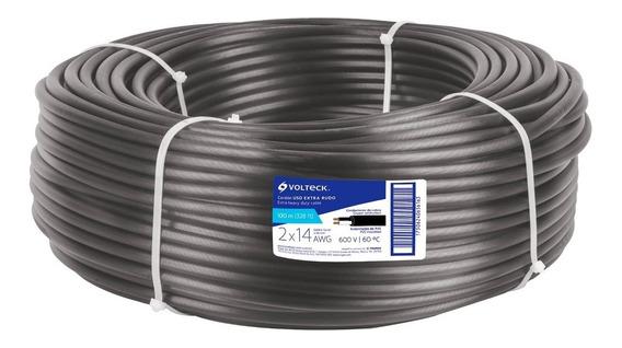 Cable Uso Rudo 2 Hilos Calibre 14 Rollo 100m Caur-214 40004