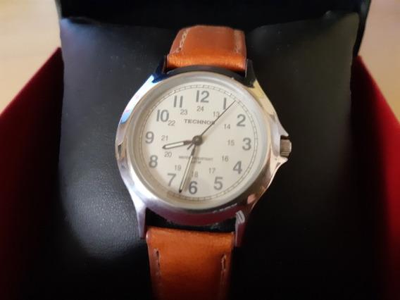 Relógio Technos Quartz Aço Inoxidável Pulseira Couro Legítmo