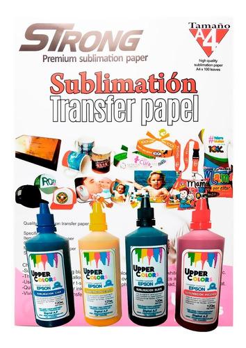 Tinta Sublimación Upper Colors + Resma Papel Strong