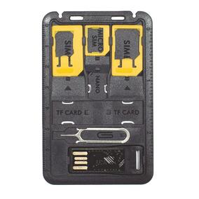 Porta Chip De Carteira Com Adaptadores Leitor Cartão Newlink