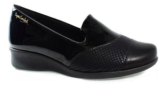 Sapato Malu Super Conforto Eloá Anatômico Preto Alívio Dores