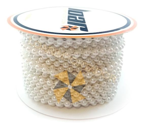Rollo Perlas Inyectada Doradas Blancas Plateadas 3mm