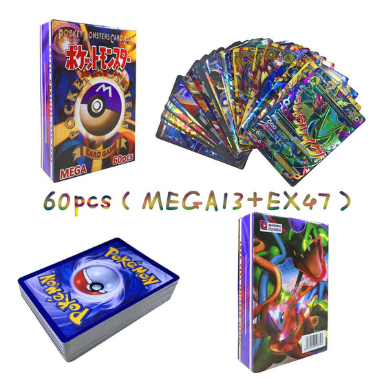 Flash Pokemon Card Game Mega Cards 60 Folhas De 13m+47ex