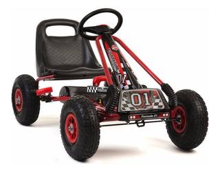 Auto Go Kart A Pedales,ruedas De Goma Color Rojo