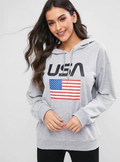 Blusa Moletom Usa Eua Estados Unidos Canguru Unissex Moda Tumblr Capuz