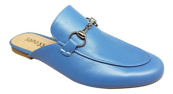 Salto 33 - Mule Estilo Gucci Couro Azul