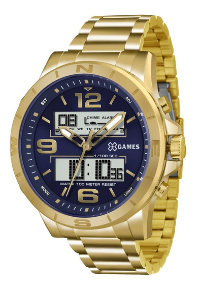 Relógio X-games Masculino Xmgsa003 D2kx Dourado Azul