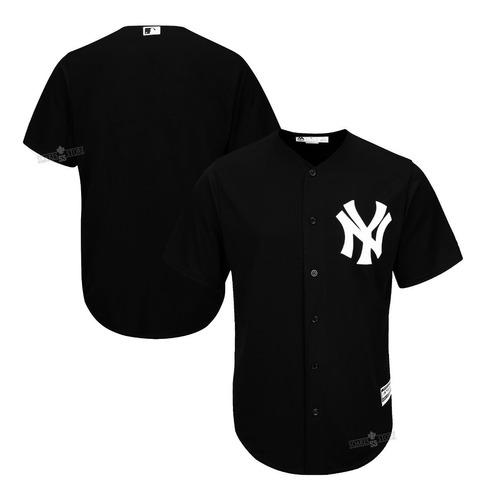Camisa De Baseball Ny Yankees Preta Lisa