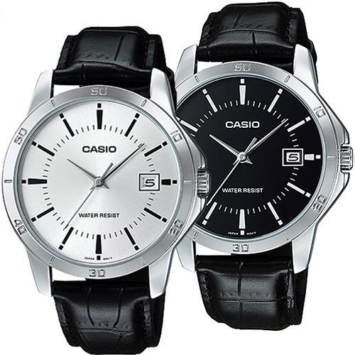 Reloj Caballero Casio Mtpv004 Piel Fechador Cristal Mineral