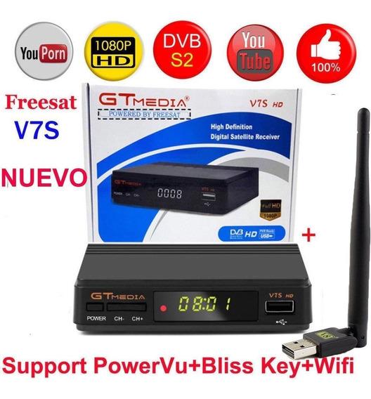 Freesat V7s Hd Fta Digital Satellite Tv Receptor Nos Plug