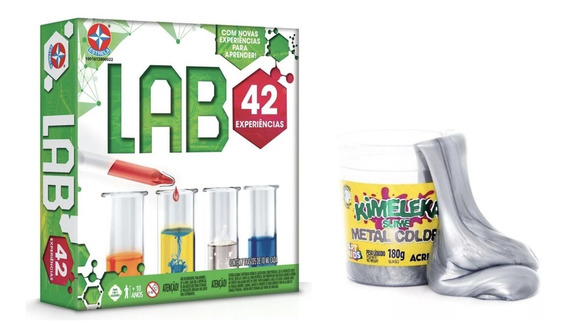 Kit Jogo Experiências Lab 42 Estrela + Slime Kimeleka Brinde