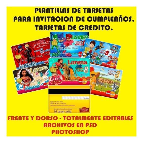 Kit Plantillas Tarjetas De Credito Invitacion Sublimacion