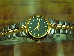 Relógio Bulova 98l136 Original Dial Preto, Banhado Ouro.