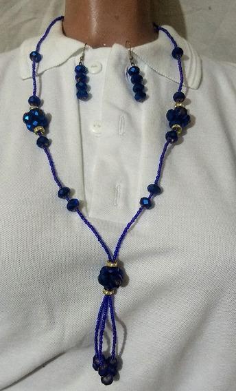 Juego De Collar Artesanal Guerrerense Azul Tornasol Largo