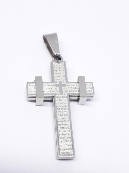 Pingente Crucifixo Aço Inox Cirúrgico Antialérgico Pai Nosso