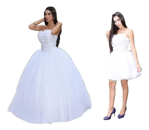 Vestido De Noiva Ou 15 Anos Princesa 2 Em 1 + Anágua 3 Aros