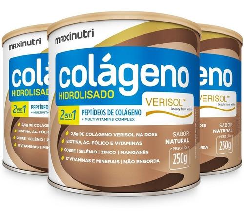 Imagem 1 de 3 de Colágeno Hidrolisado Verisol® 2em1 Antirrugas 3x 250g Maxinu