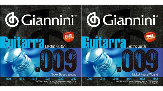 Kit 2 Encordoamento Para Guitarra 009 042 Giannini Geegst9