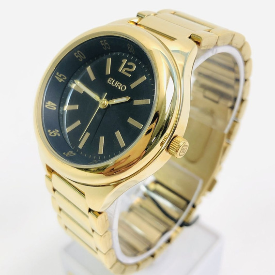 Relógio Euro Analógico Dourado E Preto Feminino
