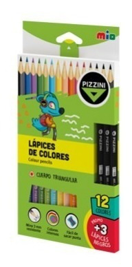 Lapices Pinturitas De Color Pizzini X12 Largos + 3 De Regalo
