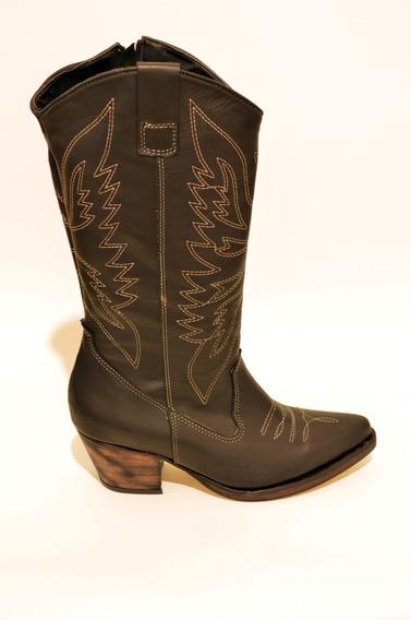 Botas Texanas Mujer, Con Costuras,altas,rt580ad