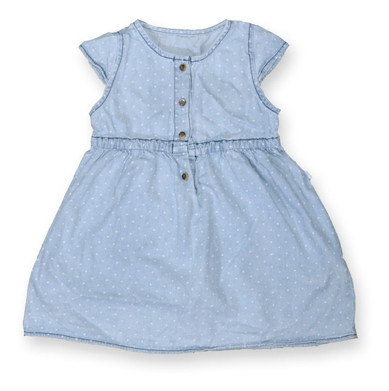 Hermoso Vestido Jean Niña Bebe Celeste Botones 18-24 Meses