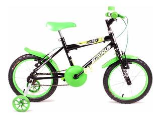 Bicicleta Aro 16 - Infantil - Cairu - Preta Com Verde