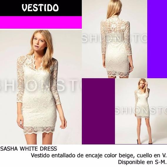 *fashionstore* Shasa White Dress. Vestido Blanco De Encaje
