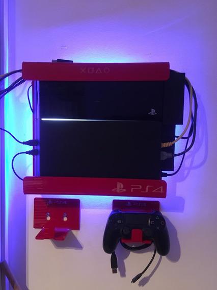 Sup. Ps4 Iluminado - 1 Sup. Console + 2 Sup. Controle + 1 He