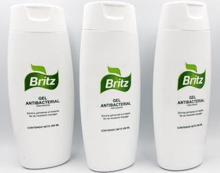 Gel Antibacterial 500ml 70% Alcohol Britz 3 Piezas