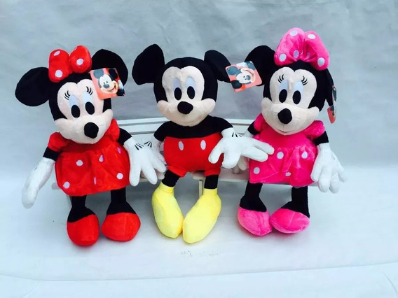 Kit 6 Bonecos Pelúcia, Mickey, Minnie , Turma Do Mickey