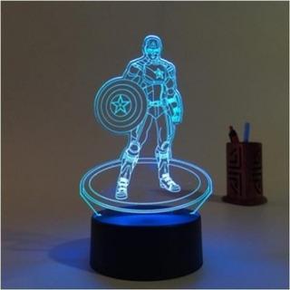 3d Lampara Led Iron Man Capitan America Decoración Luz