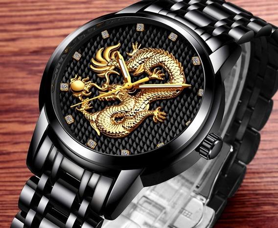 Relógio Masculino Lige Dragão Black