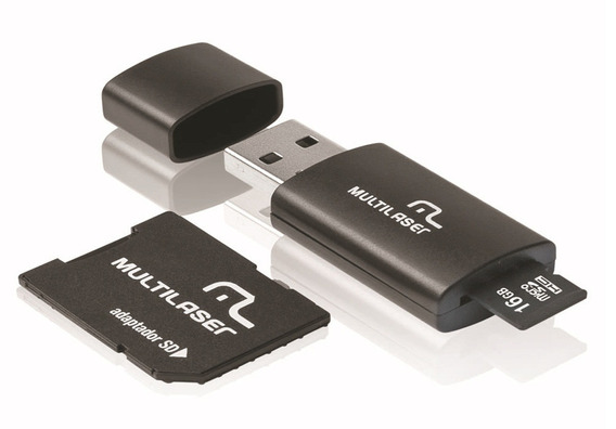 Micro Sd 16gb 3 Em 1 Multilaser Mc112 Adaptador Sd Pen Drive
