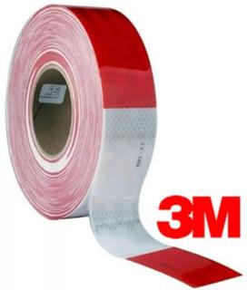 Rollo Cinta Retro Reflectiva De 45.7m Rojo Y Blanco Marca 3m