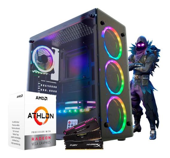 Pc Gamer Amd Athlon 200ge / Ssd 240gb / Atlantis Ii Rgb